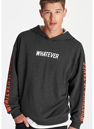 Mavi Whatever Baskılı  Oversize Sweatshirt Siyah